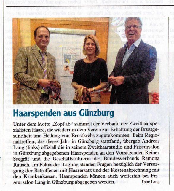Zopf ab! Haarspenden aus Günzburg